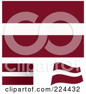 Royalty Free RF Clipart Illustration Of A Digital Collage Of Flat Shaded And Waving Latvia Flags by michaeltravers