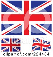 Digital Collage Of Flat Shaded And Waving Uk Flags