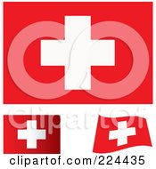 Royalty Free RF Clipart Illustration Of A Digital Collage Of Flat Shaded And Waving Switzerland Flags