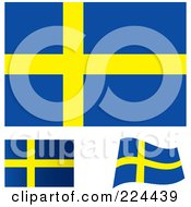 Royalty Free RF Clipart Illustration Of A Digital Collage Of Flat Shaded And Waving Sweden Flags by michaeltravers
