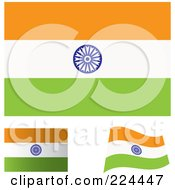 Digital Collage Of Flat Shaded And Waving India Flags