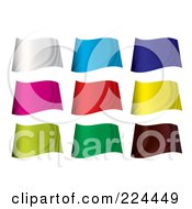 Royalty Free RF Clipart Illustration Of A Digital Collage Of Wavy Blank Colorful Flags by michaeltravers