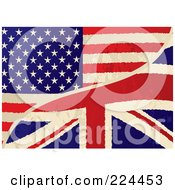 Royalty Free RF Clipart Illustration Of A Background Of A Grungy USA And UK Flag