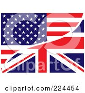 Royalty Free RF Clipart Illustration Of A Background Of A USA And UK Flag by michaeltravers #COLLC224454-0111