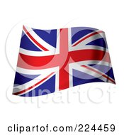 Royalty Free RF Clipart Illustration Of A Wavy UK Flag by michaeltravers