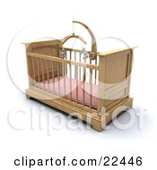 Wooden Girls Baby Crib In A Nursery With A Pink Pad And Teddy Bear Mobile