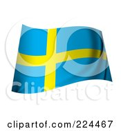 Royalty Free RF Clipart Illustration Of A Waving Sweden Flag