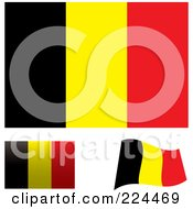 Royalty Free RF Clipart Illustration Of A Digital Collage Of Flat Shaded And Waving Belgium Flags