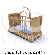 Wooden Boys Baby Crib In A Nursery With A Blue Pad And Teddy Bear Mobile