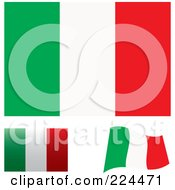 Royalty Free RF Clipart Illustration Of A Digital Collage Of Flat Shaded And Waving Italy Flags