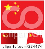 Royalty Free RF Clipart Illustration Of A Digital Collage Of Flat Shaded And Waving China Flags