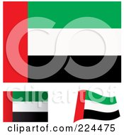 Royalty Free RF Clipart Illustration Of A Digital Collage Of Flat Shaded And Waving United Arab Emirates Flags