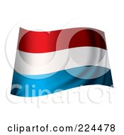 Royalty Free RF Clipart Illustration Of A Waving Luxembourg Flag