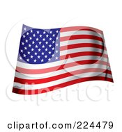 Royalty Free RF Clipart Illustration Of A Wavy Ripply USA Flag by michaeltravers