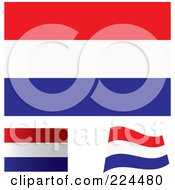 Royalty Free RF Clipart Illustration Of A Digital Collage Of Flat Shaded And Waving Netherlands Flags