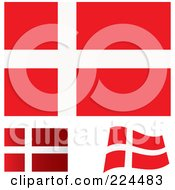 Royalty Free RF Clipart Illustration Of A Digital Collage Of Flat Shaded And Waving Denmark Flags
