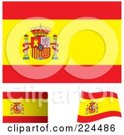 Royalty Free RF Clipart Illustration Of A Digital Collage Of Flat Shaded And Waving Spain Flags