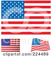 Royalty Free RF Clipart Illustration Of A Digital Collage Of Flat Shaded And Waving USA Flags
