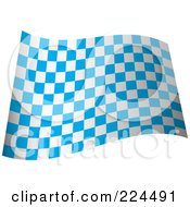 Royalty Free RF Clipart Illustration Of A Waving Blue And White Checkered Flag