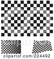 Royalty Free RF Clipart Illustration Of A Digital Collage Of Flat Shaded And Waving Black And White Checkered Flags
