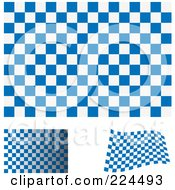 Royalty Free RF Clipart Illustration Of A Digital Collage Of Flat Shaded And Waving Blue And White Checkered Flags