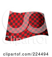 Royalty Free RF Clipart Illustration Of A Waving Black And Red Checkered Flag