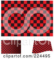 Royalty Free RF Clipart Illustration Of A Digital Collage Of Flat Shaded And Waving Red And Black Checkered Flags