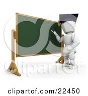 Clipart Illustration Of A White Character Teacher Wearing A Graduation Cap Standing In Front Of A Chalkboard And Teaching A Class by KJ Pargeter