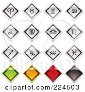 Digital Collage Of Shiny Metal Horoscope Signs