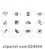 Royalty Free RF Clipart Illustration Of A Digital Collage Of Black Horoscope Signs Over Green Words