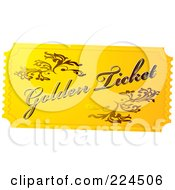 Royalty Free RF Clipart Illustration Of A Golden Ticket by michaeltravers