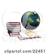 Clipart Illustration Of A Stack Of Red School Books And A Pair Of Glasses Resting On An Open Book In Front Of A Globe by KJ Pargeter