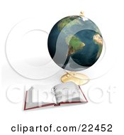 Clipart Illustration Of A Pair Of Eyeglasses Resting On Top Of An Open Book In Front Of A Globe