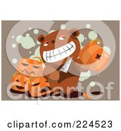 Royalty Free RF Clipart Illustration Of A Teddy Bear Holding A Knife And Pumpkin by mayawizard101