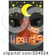 Royalty Free RF Clipart Illustration Of A Teddy Bear With Bat Wings And Pumpkins by mayawizard101