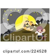 Royalty Free RF Clipart Illustration Of A Jackolantern Chasing A Boy In A Cemetery by mayawizard101