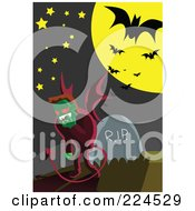 Royalty Free RF Clipart Illustration Of A Devil Standing By A Headstone In A Cemetery by mayawizard101