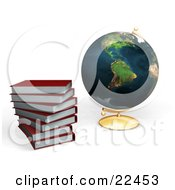 Clipart Illustration Of Red School Library Books Stacked Beside A Globe