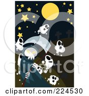 Grim Reaper And Ghosts Under A Starry Sky