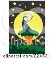 Royalty Free RF Clipart Illustration Of A Grim Reaper And Scythe On A Tree Against A Full Moon by mayawizard101