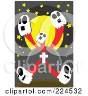 Royalty Free RF Clipart Illustration Of Five Skull Ghosts Emerging From A Tombstone by mayawizard101