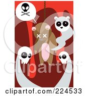 Royalty Free RF Clipart Illustration Of Ghosts Around A Dead Hanged Teddy Bear by mayawizard101