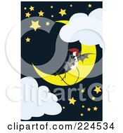 Bat Woman Sitting On A Crescent Moon