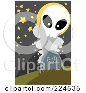 Royalty Free RF Clipart Illustration Of A Ghost Emerging From A Tombstone by mayawizard101