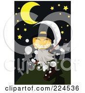 Royalty Free RF Clipart Illustration Of A Pumpkin Ghost In A Cemetery by mayawizard101