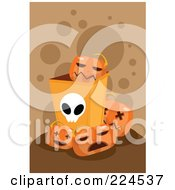 Royalty Free RF Clipart Illustration Of A Halloween Bin With Jackolanterns by mayawizard101