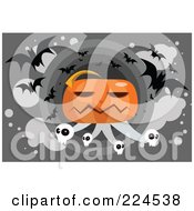 Royalty Free RF Clipart Illustration Of A Giant Jackolantern With Skulls And Vampire Bats by mayawizard101