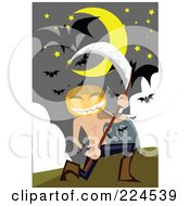 Royalty Free RF Clipart Illustration Of A Jackolantern Head Man Holding A Scythe In A Cemetery