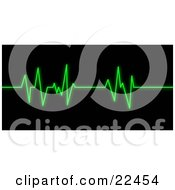 Bright Green Heart Rate Monitor Keeping Track Of A Patients Heart Beat