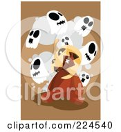 Royalty Free RF Clipart Illustration Of A Jackolantern On A Teddy Bears Head Under Ghosts by mayawizard101